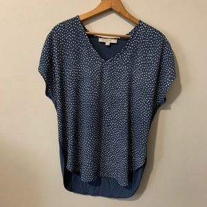 LOFT Ann Tylor navy cream print flowy top small